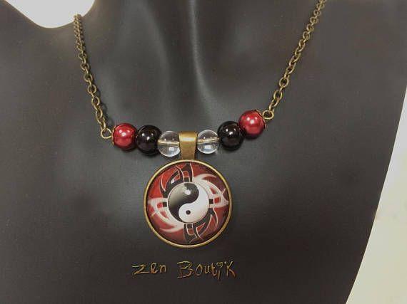 Collier Zen Yin Yang Zen Tao Ying Yang Rouge et Noir