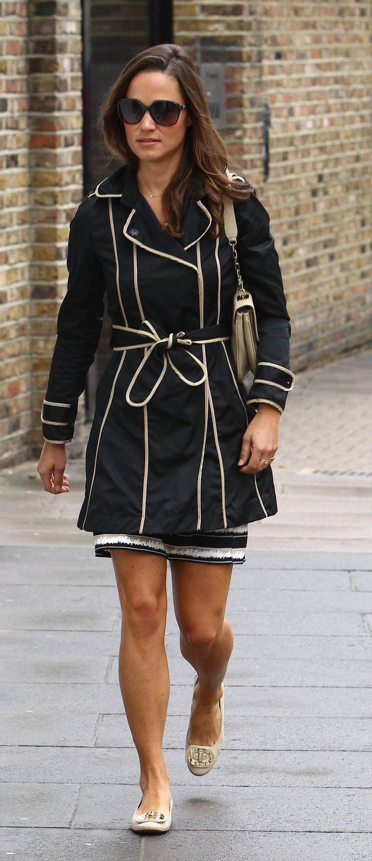 Pippa Middleton black raincoat with camel piping