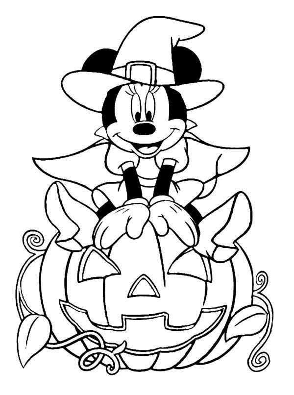 Disney Halloween Minnie Coloring Sheet for Kids Picture 18 550x738 Picture