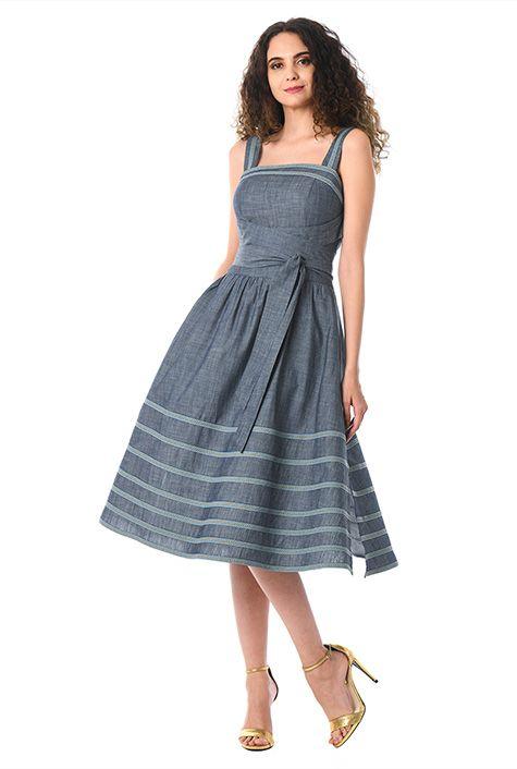 f87f1305f009c I <3 this Stripe lace trim cotton chambray sash dress from eShakti ...