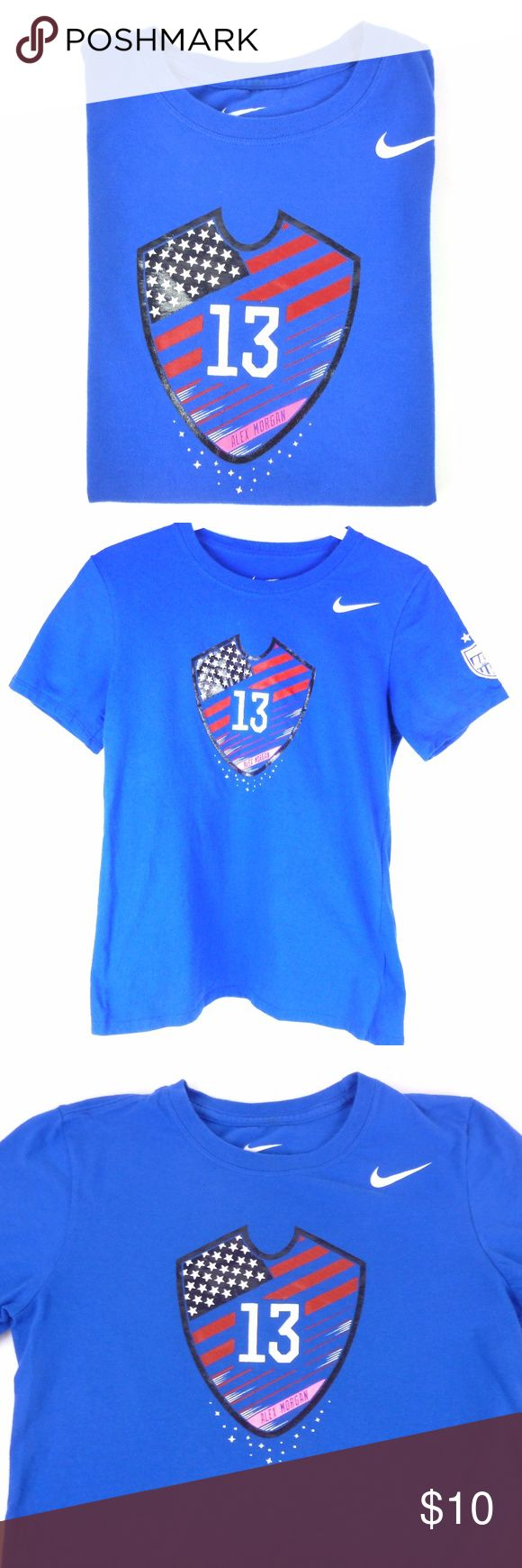 """Nike Womens Alex Morgan Soccer T-Shirt in Blue Nike Alex Morgan soccer T-shirt in Size Small.  100% cotton and measures 15.5"""" armpit to armpit and 22.5"""" from shoulder to bottom of top Nike Tops Tees - Short Sleeve"""