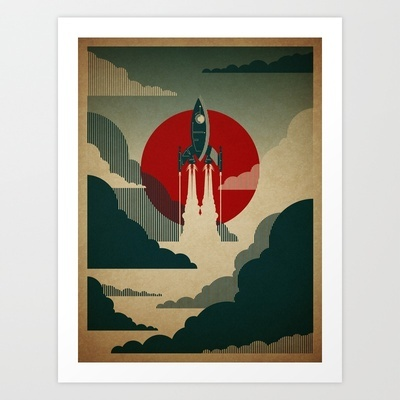 The Voyage Art Print by Danny Haas - $17.68--The main print (of 3) we're decorating his room around.