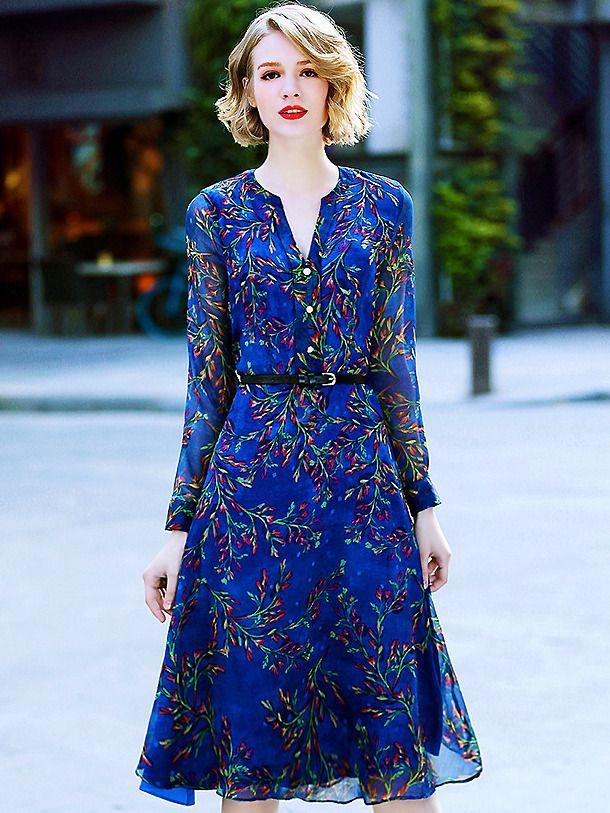 Buy Elegant Floral Belted V-Neck Long Sleeve Print Skater Dress with High Qualit…