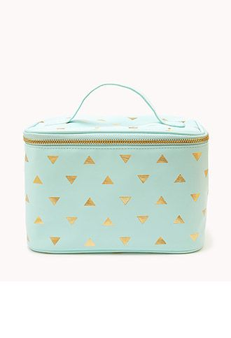 Metallic Triangle Print Cosmetic Bag from Forever 21. Comes in coral and gold and black and gold also. So cute!