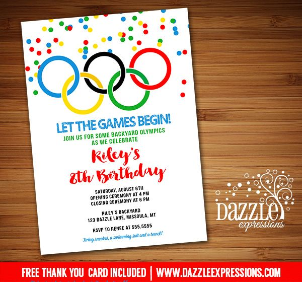 Printable Olympic Games Birthday Invitation | Kids Birthday Party for any age! | Summer Olympics Party | Gold Medalist | Backyard Summer Water Party | FREE thank you card included | Printable Matching Party Package Decorations Available! Banner | Signs | Labels | Favor Tags | Water Bottle Labels and more! www.dazzleexpressions.com