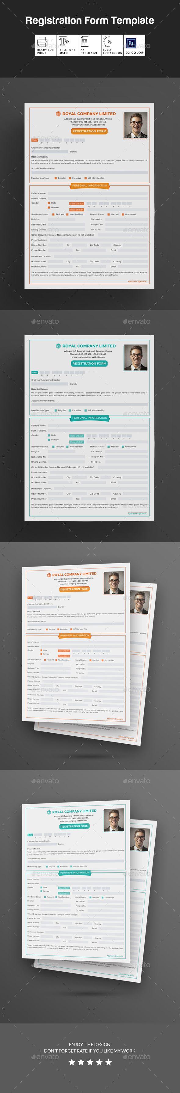 Registration #Form - #Miscellaneous Print Templates Download here:  https://graphicriver.net/item/registration-form/20387376?ref=alena994