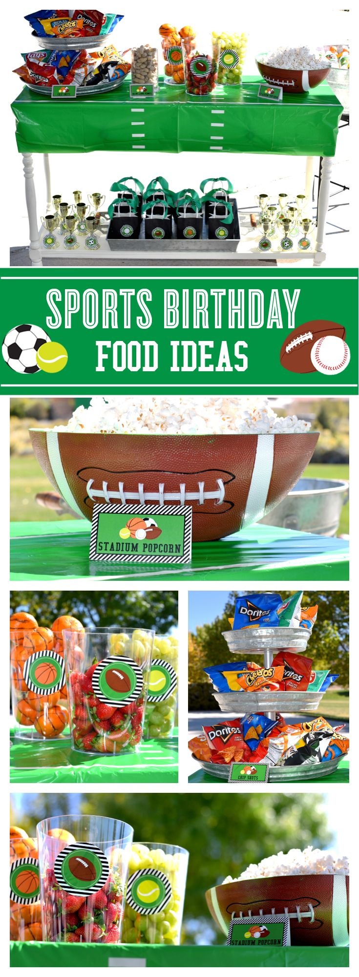 Love these Sports Birthday Party snack ideas