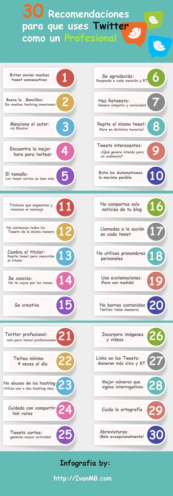 30 RECOMENDACIONES PARA USAR TWITTER COMO UN PROFESIONAL #INFOGRAFIA #INFOGRAPHIC #SOCIALMEDIA