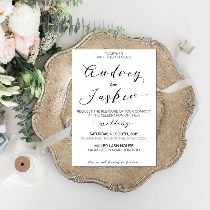 Printable Wedding Invitation Simple u0026 Elegant