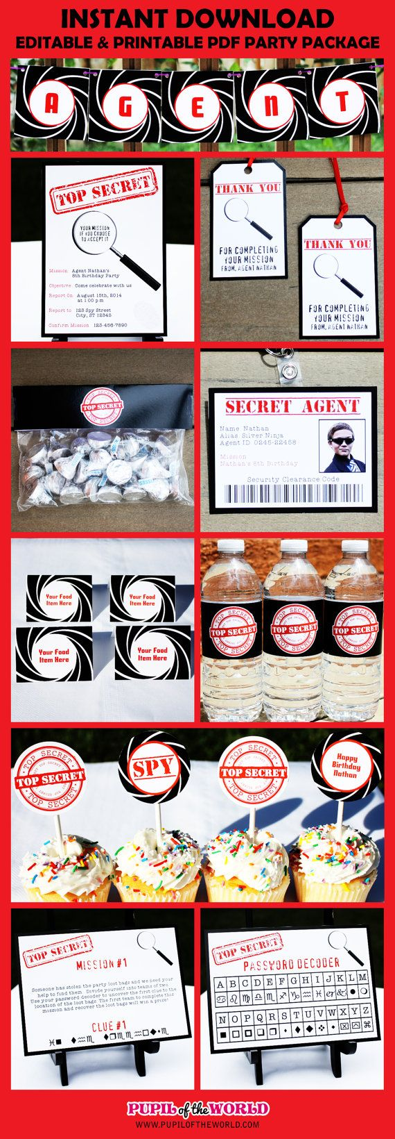 SECRET AGENT – PARTY PACKAGE  DIY Editable & Printable PDF    This is an INSTANT DOWNLOAD digital PDF file. You will be able to download the