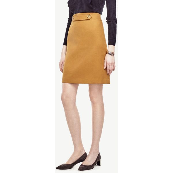 Ann Taylor Button Tab Skirt ($89) ❤ liked on Polyvore featuring skirts, olive mist, army green skirt, olive skirt, beige skirt, olive green skirt and ann taylor