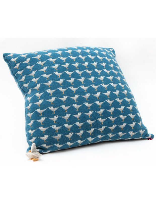 seagull knitted cushion