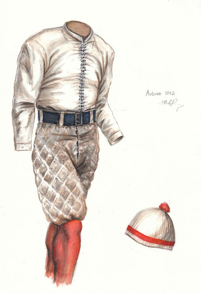 1892 - This painting of a laced canvas jacket-jersey honors the first season of Auburn football. The team played one game in February 1892 (a win over Georgia) and three in November (a win and two losses). The coach was George Petrie, who only coached this one year and the captain was Frank Lupton.