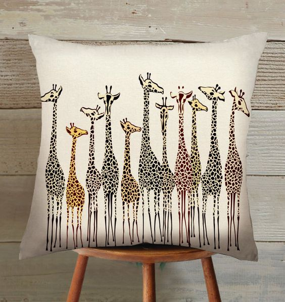 handmade giraffe suede pillow cover