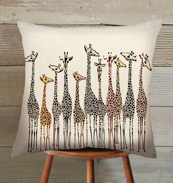 handmade giraffe suede pillow cover