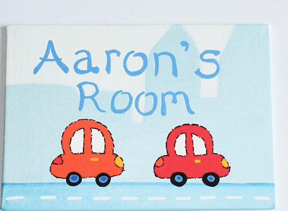 Childrens Bedroom Door Sign Boys Beep Beep Cars Painted Stretched Canvas  Plaque Can Be Personalised With Any Name Make Lovely Gift