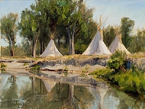 Crow Camp     by Joseph Trakimas Fine Art ~   Native American Art - Trakimas has an interest in creating authentically made Native American headdress, weapons, shields and clothing, primarily dating back to the mid 1800's Apsaroke (Crow) Indians.    His hope is to honor their way of life and educate the public through the images he creates, much like George Catlin and Karl Bodmer did. #Native American Art
