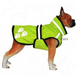 Glow Dog - Manteau pour chien Manteau rembourré, imperméable et réfléchissant pour une visibilité optimale, protège de l'humidité et du froid, s'adapte à la morphologie du chien. Lavable en machine. Coloris : jaune fluo / noir - longueur du dos : 45 cm environ - 22euros- zooplus