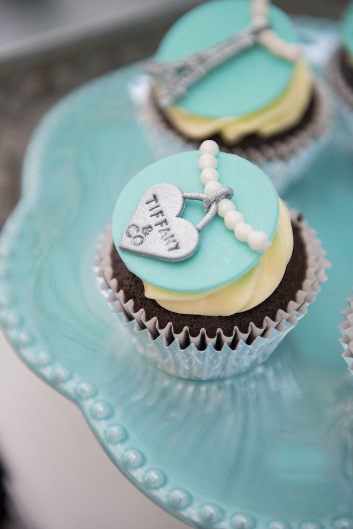 Tiffany inspired cupcakes from Breakfast at Tiffany's Inspired Birthday Party at Kara's Party Ideas. See more at karaspartyideas.com!
