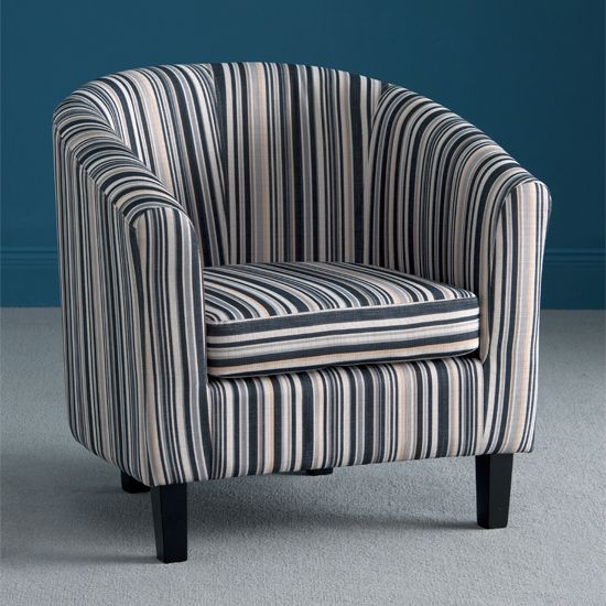 If you are looking for a low cost but rare to find #furniture item, Oxford stripe fabric #tubchair will fit your bill properly. The #chair has comfortable structure and comes in an affordable price.