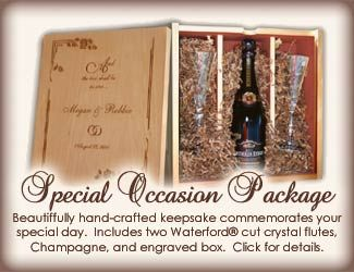 Looking to celebrate a special occasion at Henderson Park Inn? This beautifully handcrafted keepsake commemorates your special day. Each box is hand-crafted and engraved to meet your needs. Included inside each box are  2 crystal Waterford Champagne Flutes and your choice of Champagne or Sparkling Wine.