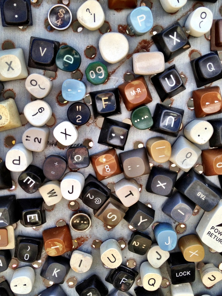 Typewriter keys turned into magnets for the refrigerator