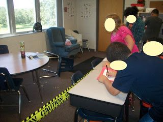 "Used for a 5th grade class but I could totally see my high schoolers loving it. Create a ""crime scene"" in the classroom, complete with caution tape, and the students use the clues to infer what took place. Then relate it to reading. Start by using a children's book, then a short story, then a grade level text."