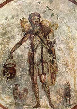 Jesús como El Buen Pastor. En el techo de la catacumba de San Calisto, mediados del siglo III.