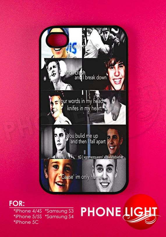 He's Only HumanJustin Bieber Phone Case  Rubber and by PHONELIGHT, $13.99