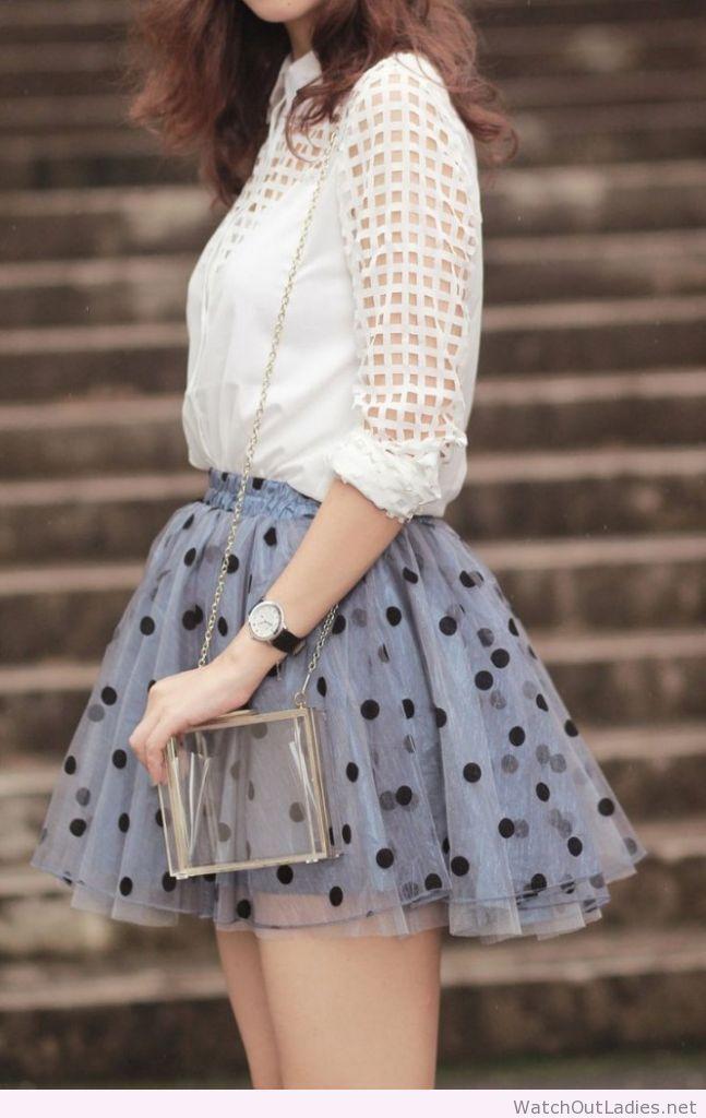 Gray polka dot skirt