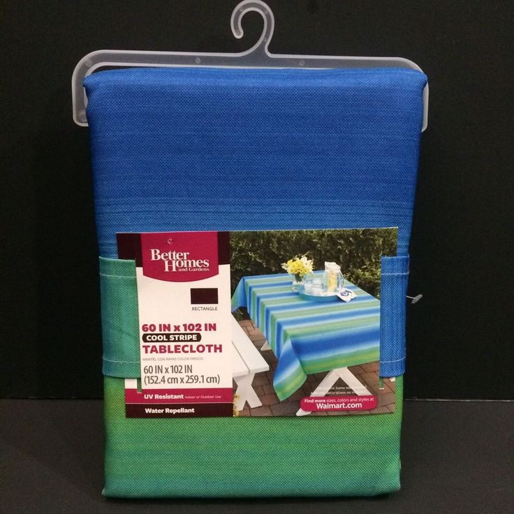 Indoor Outdoor Tablecloth Fabric Rectangle Blue Stripe Water Resistant UV 60x102 #BetterHomesGardens