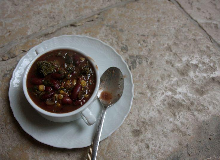 sopa de feijao vermelho milho brocolis couve