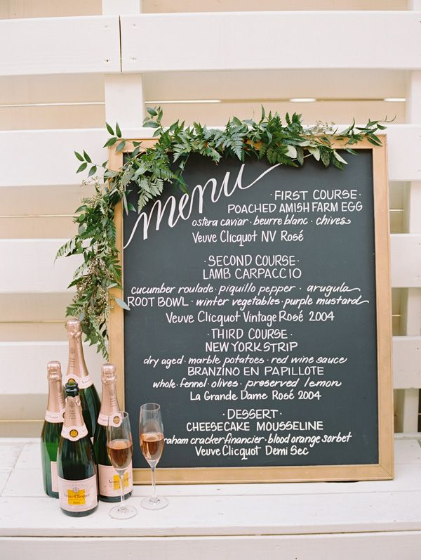 """Our goal with styling was to let the Veuve Clicquot brand shine while remaining cohesive with Table's minimal farm-to-table aesthetic. I love the idea of displaying a menu during cocktail hour so people know what's being passed. I created this easy…"