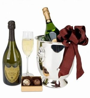 Dom Perignon Champagne and Chocolate Elegance in an Ice Cooler. A great gift available from Arttowngifts.com.