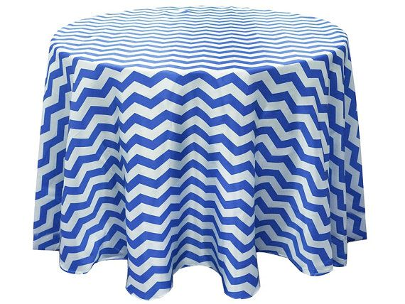 Satin Round Blue Zig Zag Chevron Tablecloth Size 120 by Zemboor