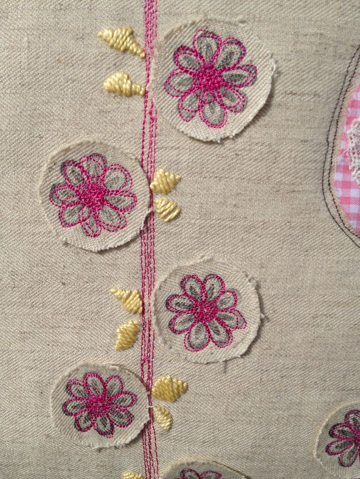 stamped appliquéd flowers with embroidery