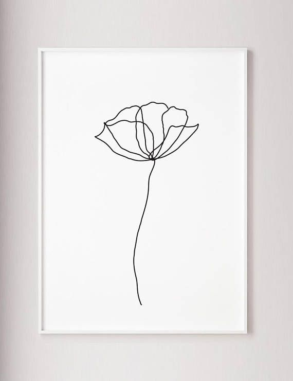 Poppy flower wall line art print, Minimalist modern art decor, one line art, contour drawing, wabi sabi art, black and white botanic poster – Art.Pinindec