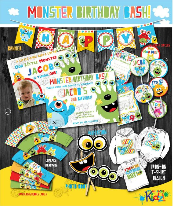 Boy's Monster Party Package  monster Birthday by ItsAllAboutKidz,