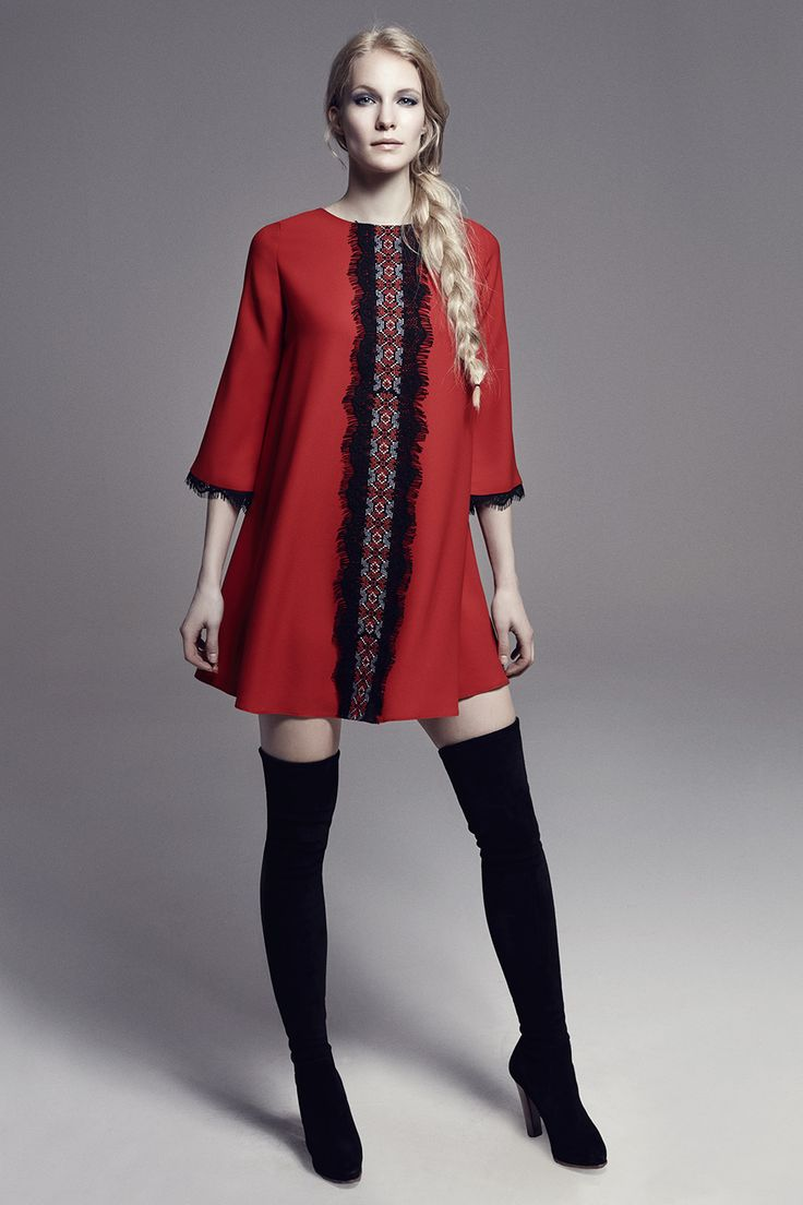 VERUSCHKA - Quarter Sleeve Crepe Mini Dress w/Embroidered Lace Detail on Front Panel