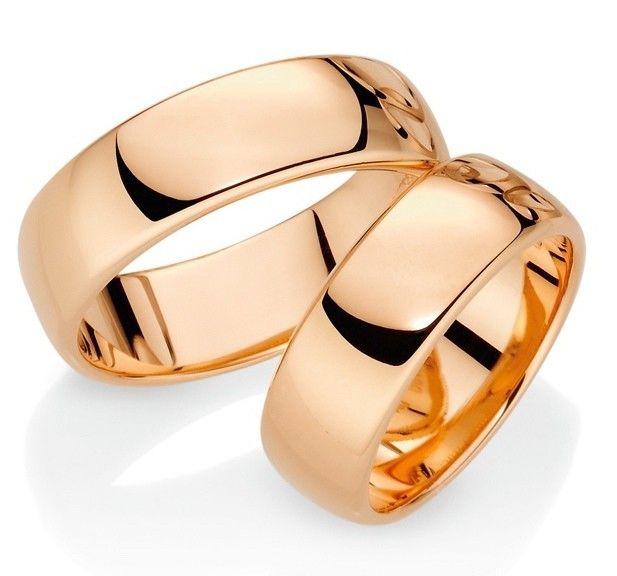 Par de Alianças Largas Grossas ♥ Casamento e Noivado em Ouro 18K - Reisman…