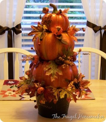 Fall Pumpkin Topiary - The Frugal Homemaker | The Frugal Homemaker