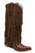 Corral Boots Women's Sierra Tan Tall Fringe Cowgirl Boots