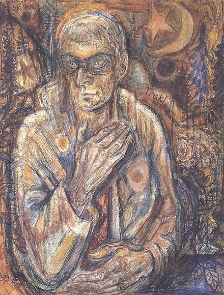 Masked Portrait (Georg Trakl), 1943 - Albert Bloch - WikiArt.org
