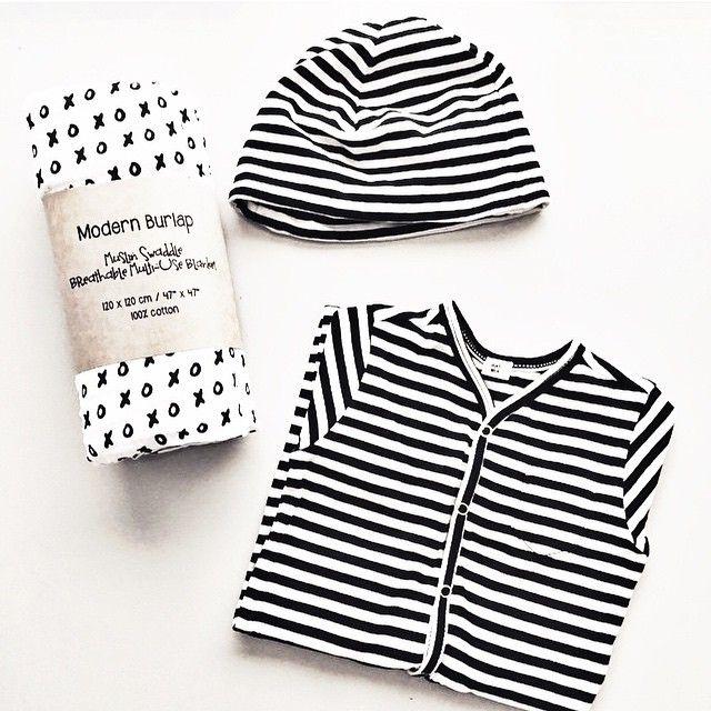 Modern Monochrome Black And White Baby Gift Organic