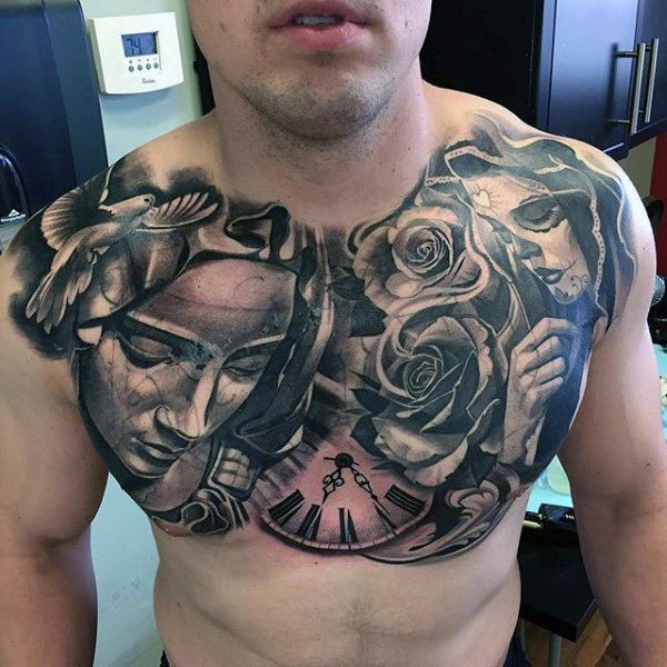 Day Of The Dead Religious Mens Awesome Chest Tattoo Design Ideas