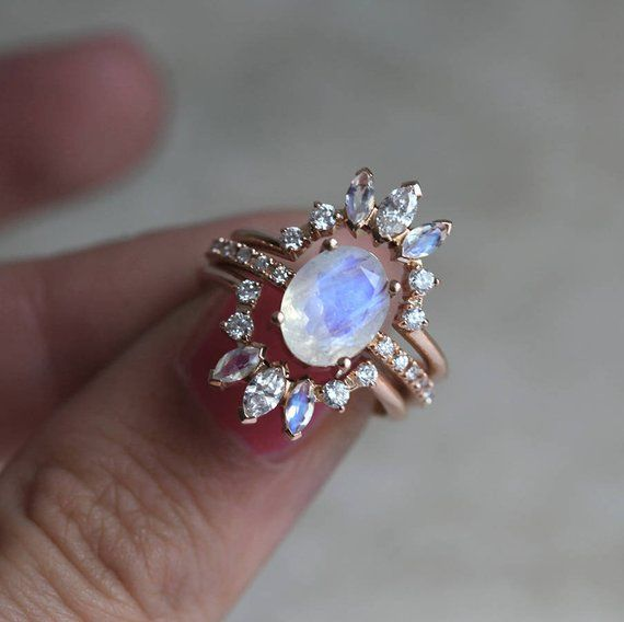 Ice Wedding Ring Set, Diamond Moonstone Ring, 14k Gold Engagement Ring, Three Ring Set, 18k Gold, Blue Rainbow Moonstone Ring Set, MinimalVS