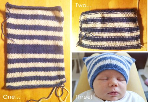 Instructions for an easy-to-knit baby hat! There's quite a few knitting patterns on this blog.