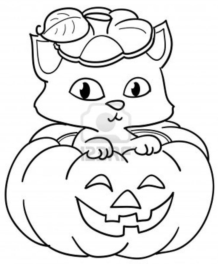 Little Cat And Pumpkin Coloring Pages For Kids Free