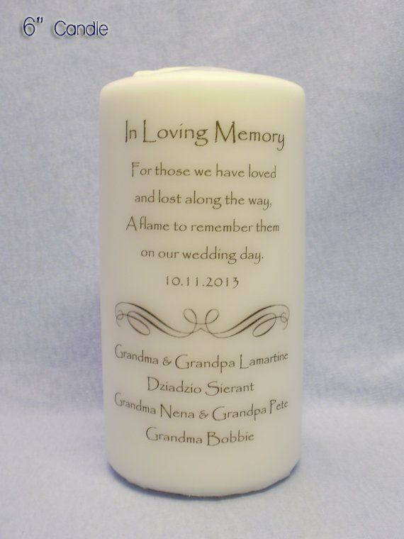 Loving Memory 6 9 Or 12 Memorial Candle By Ithinkicandesigns 15 00