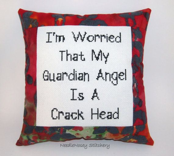Funny Cross Stitch Pillow Red And Black Pillow by NeedleNosey, $25.00